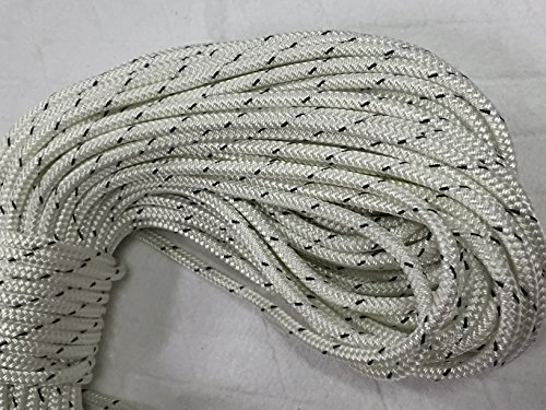 1/4'' X 150' Double Braided Polyester Rope, White/Black by Blue Ox Rope