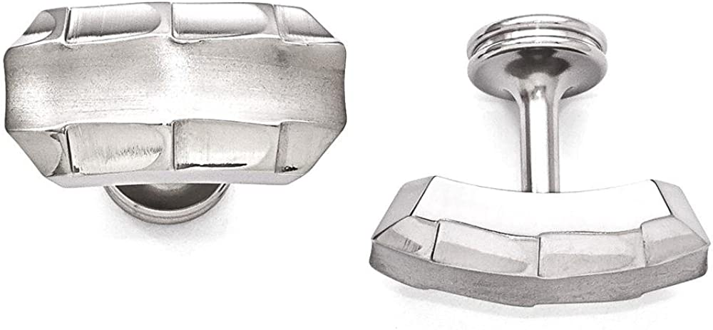 ICE CARATS Edward Mirell Titanium Brushed Faceted Edges Cufflinks Man Cuff Link Fashion Jewelry Gift for Dad Mens for Him