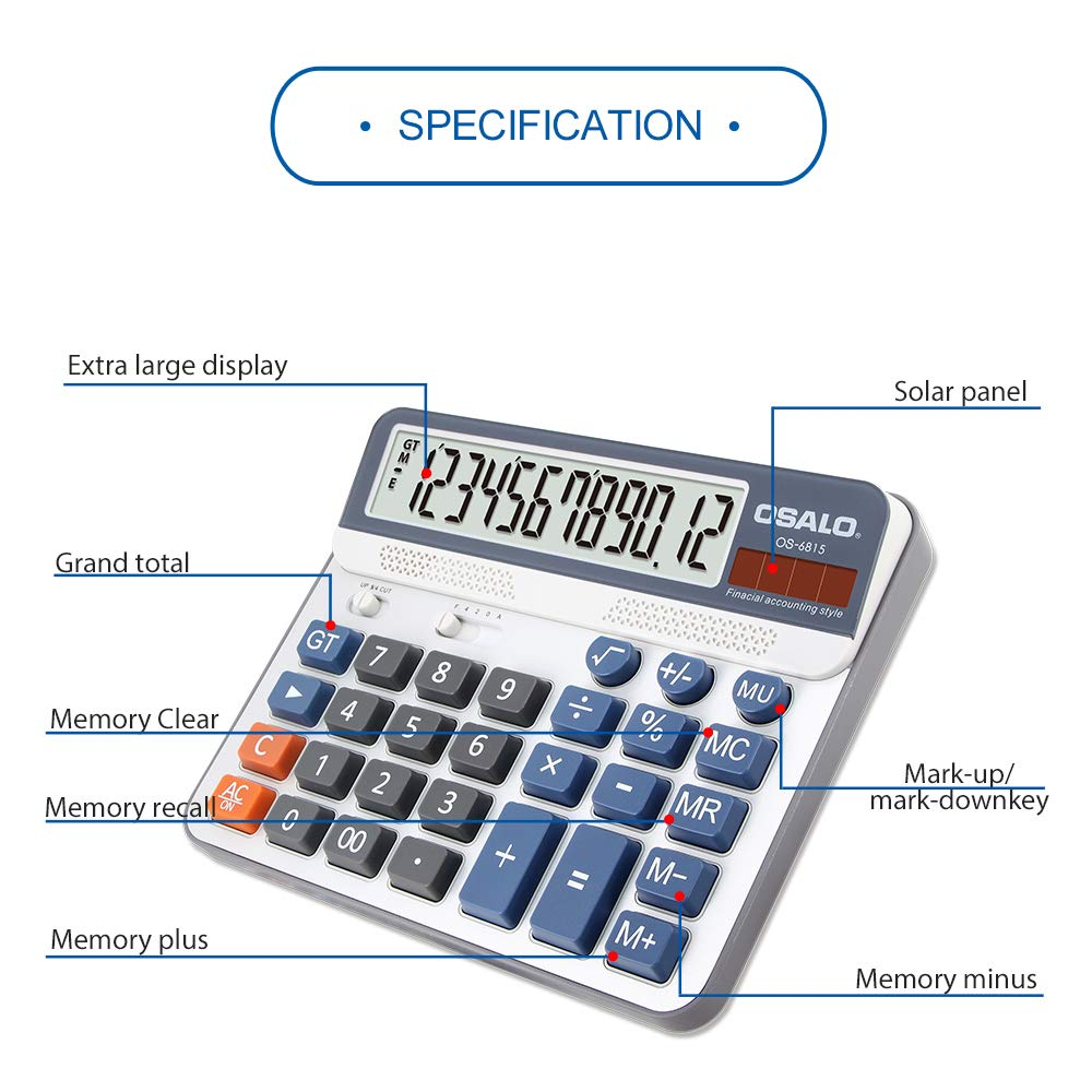 Aibecy Electric Calculator Desktop Counter Solar & Battery Power ABS 12-Digit LCD Display Source for Home Office School -OSALO OS-6815 by Aibecy (Image #2)