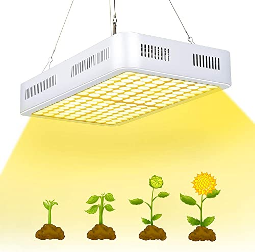 800W CXhome Plant Grow Light Full Spectrum with 60 Reflector Dual-Chip LED Growing Lamp with ON Off Switch Daisy Chain for Hydroponic Veg and Flower 256 LEDs