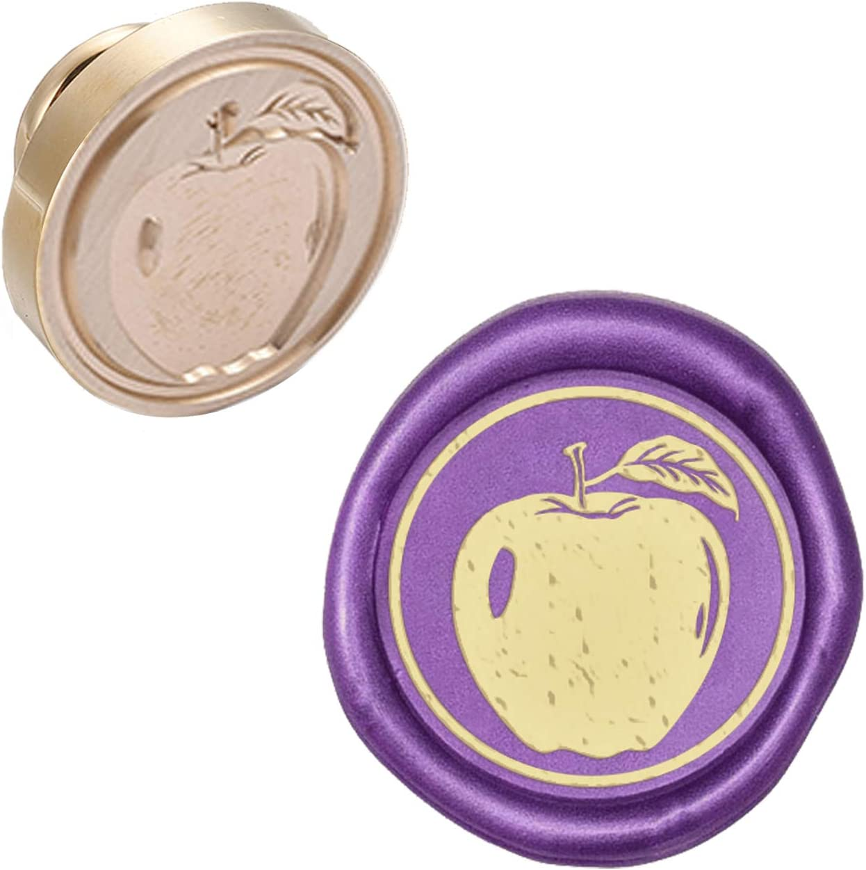 CRASPIRE Wax Seal Stamp Head Replacement Apple Removable Sealing Brass Stamp Head Olny for Creative Gift Envelopes Invitations Cards Decoration