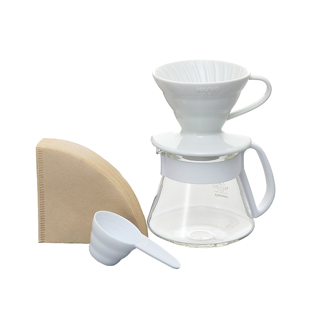 Hario V60 Size 01 Pour Over Set with Ceramic Dripper, Glass Server, Scoop and Filters, White by Hario