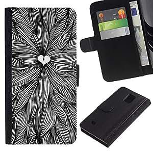iBinBang / Flip Funda de Cuero Case Cover - Amantes de la naturaleza Art Pen Hojas Tinta - Samsung Galaxy Note 4 SM-N910