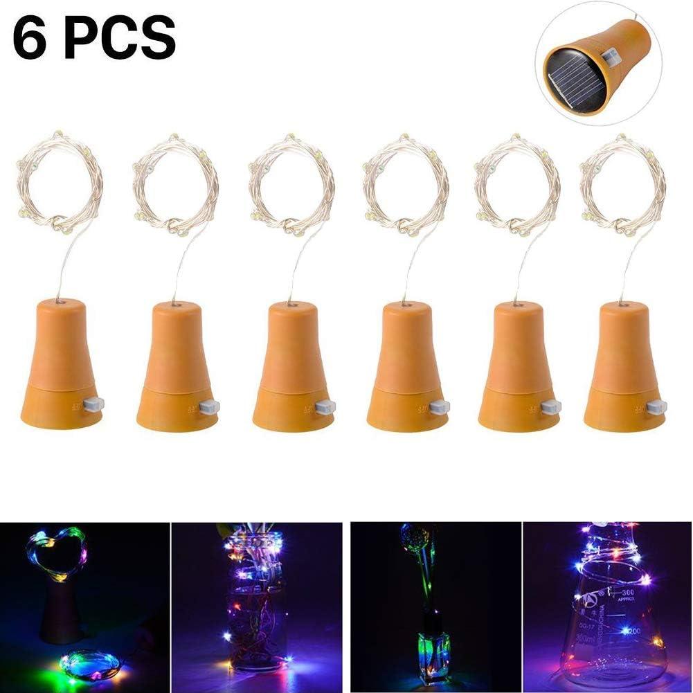 6pcs 10 LED Solar Botella de Vino de Corcho Luz de Hadas con Cable de Cobre de 1 m Forma de la Lámpara de la Barra para la Botella de Bricolaje, Fiesta, Decoración del Hogar(colorido)