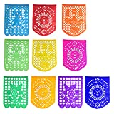 Large Mexican Papel Picado Tissue Paper Banner with 10 Vertical Panels - Great for Mexican Party Fiesta Decorations