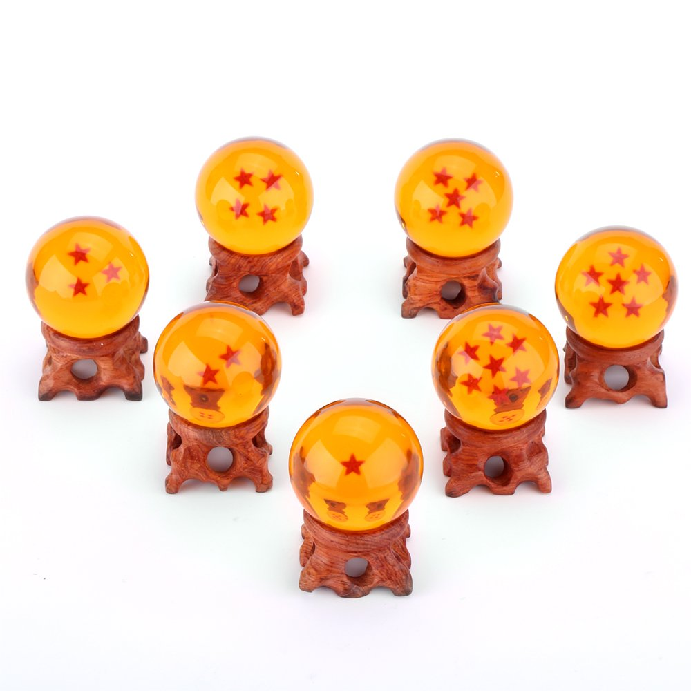 7 pcs Pure Hand-made Wood Ball Holders + 7 pcs Star Ball Crystal Ball (1.7 Inch Diameter), 3D Stars, Clear and Transparent, Flashing Mysterious Aura of Jesus, Charming Amber Color