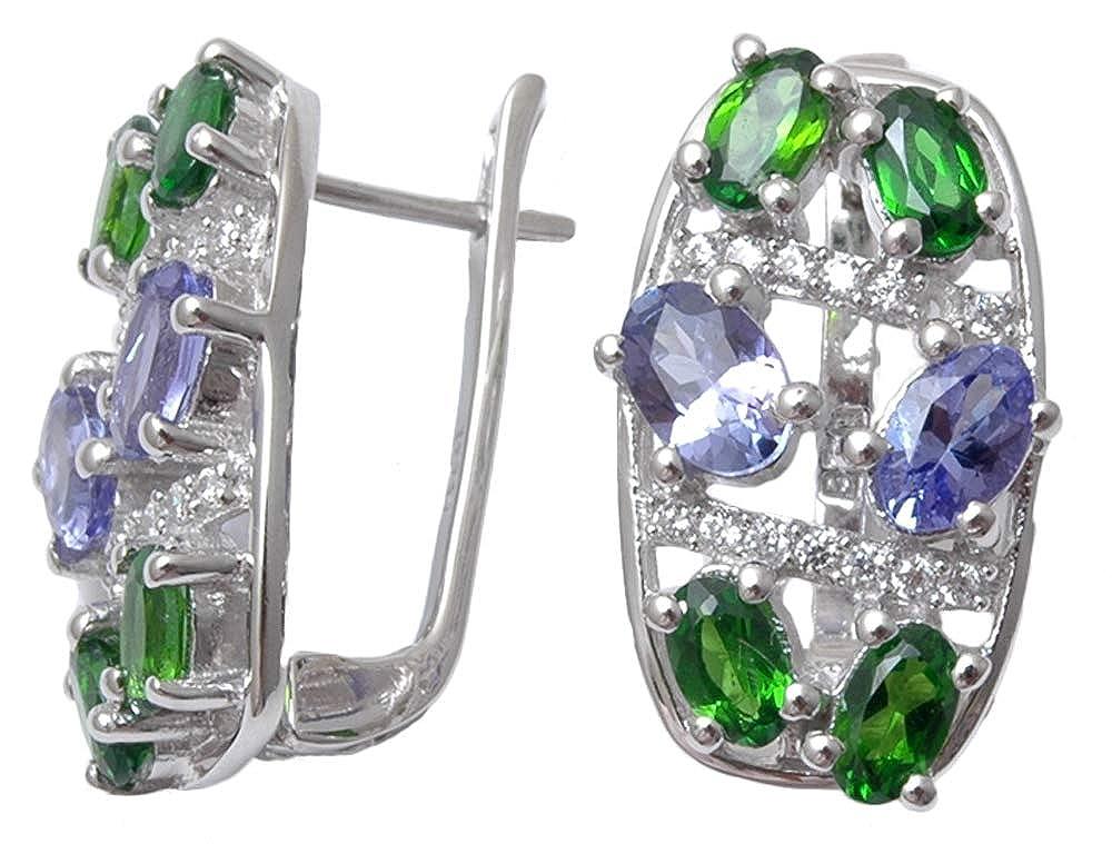 Banithani 9.25 Solid Silver Tanzanite Stone Charming Stud Earring Set Fashion Jewelry