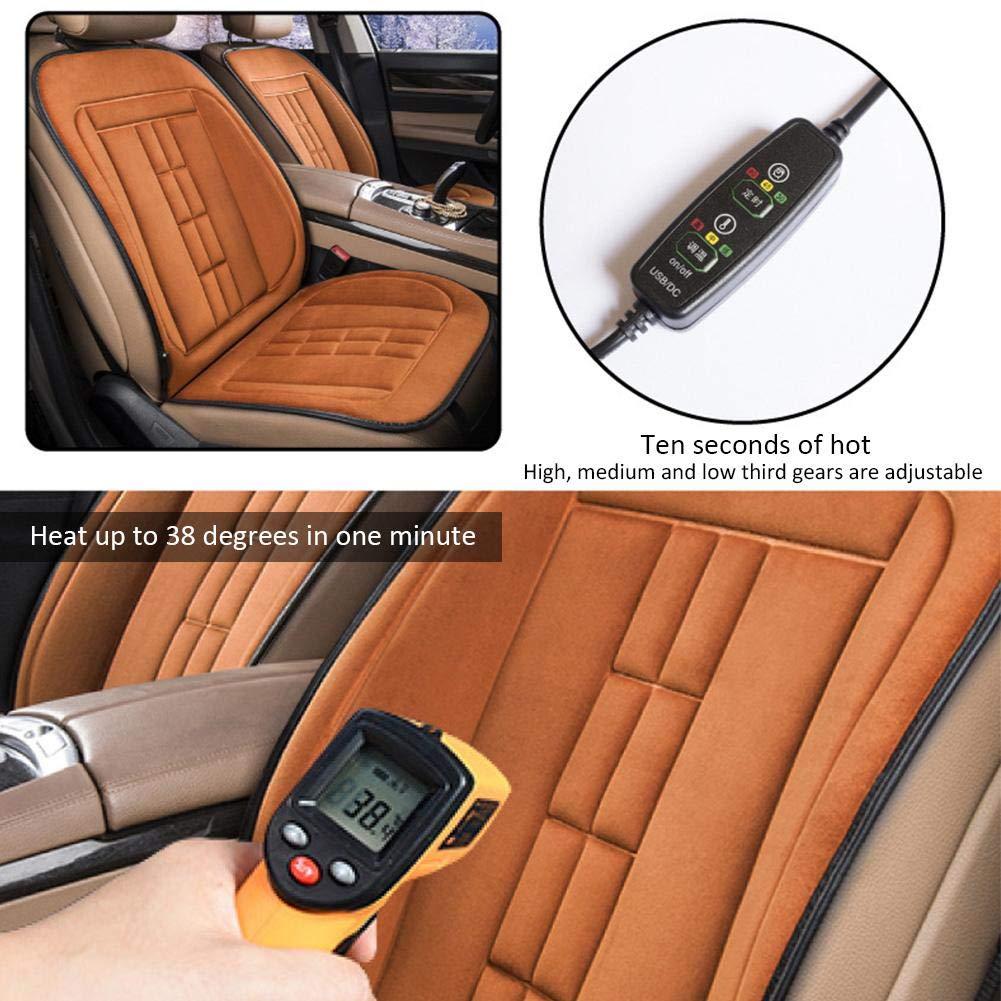 Ganmaov Cuscino riscaldante per Auto 12V Tessuto in Velluto Dorato e Risparmio energetico Protezione da sovratensione e ignifugo Caldo coprisedile Invernale Riscaldamento Sicuro e Veloce