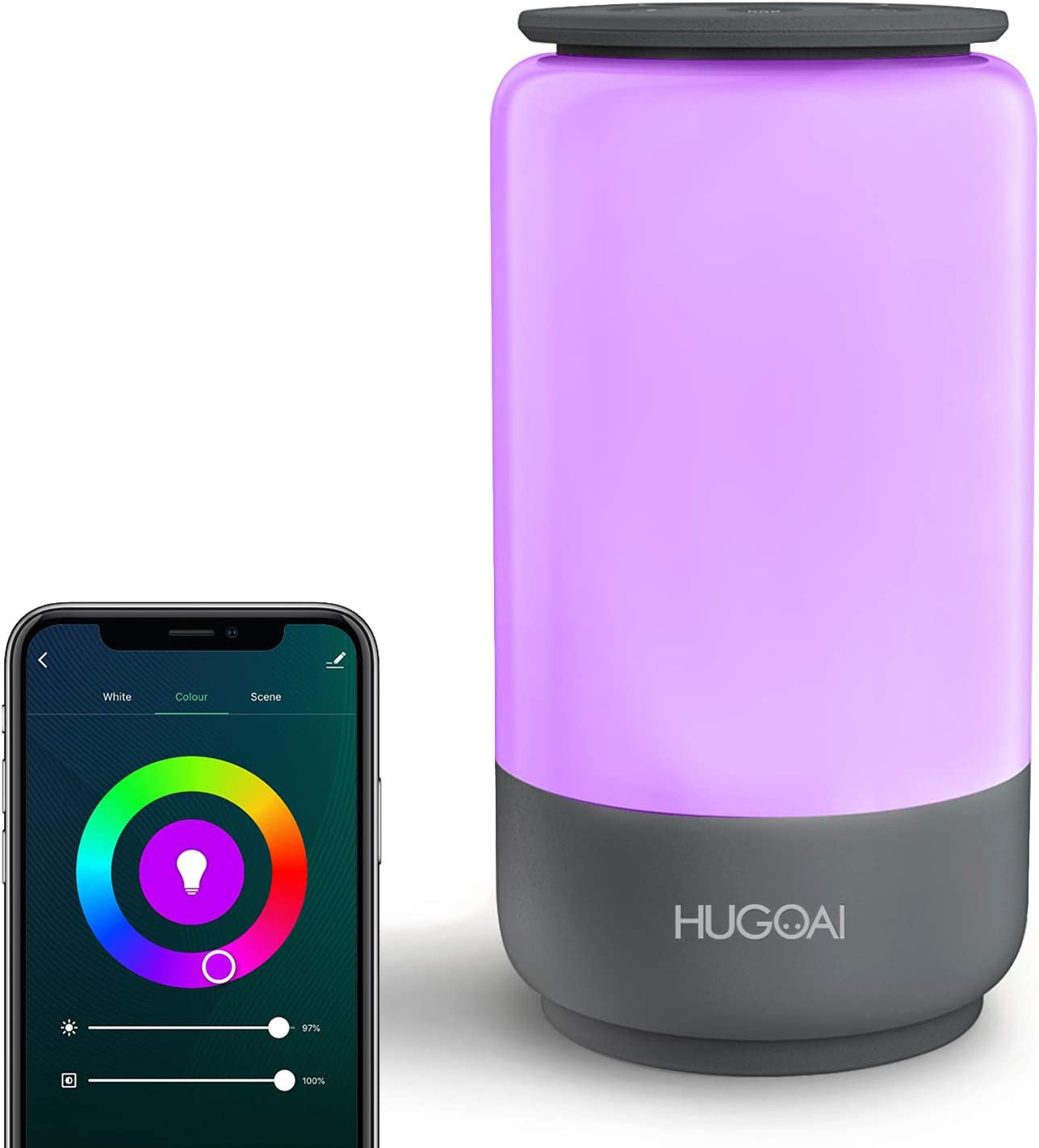 Smart Table Lamp, HUGOAI Dimmable Bedside Lamps for Bedrooms ...