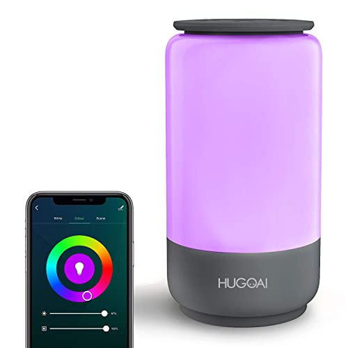 Smart Table Lamp, HUGOAI Dimmable Bedside Lamps for Bedrooms, Works with Alexa Google Home, LED Nightstand Lamp with Shades of White Lights and Vibrant Colors, No Hub Required – Grey