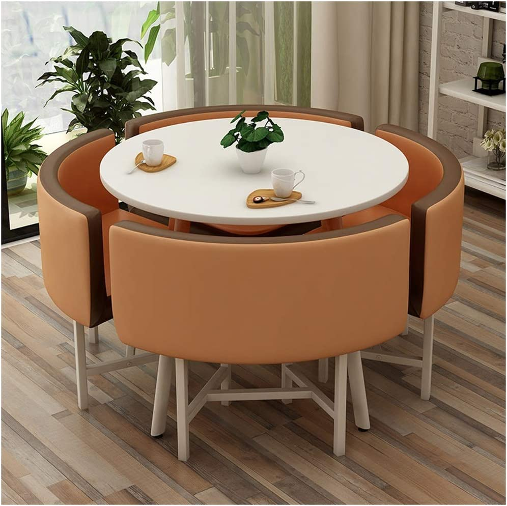 Simple Table and Chair Set Modern Design Round Table Balcony Living Room Dining Table Office Meeting Room Lounge 4 Leather Chairs Coffee Shop Beauty Salon Leisure Table Color: Army Green