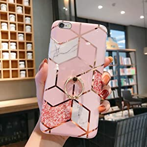 Case for iPhone 6S Plus/6 Plus Marble Case,Girls Women Polished Plating Mosaic Marble Flexible Soft Rubber Gel TPU Case Cover & Bling Diamond Ring Stand for iPhone 6S Plus/6 Plus Silicone Case,Pink B