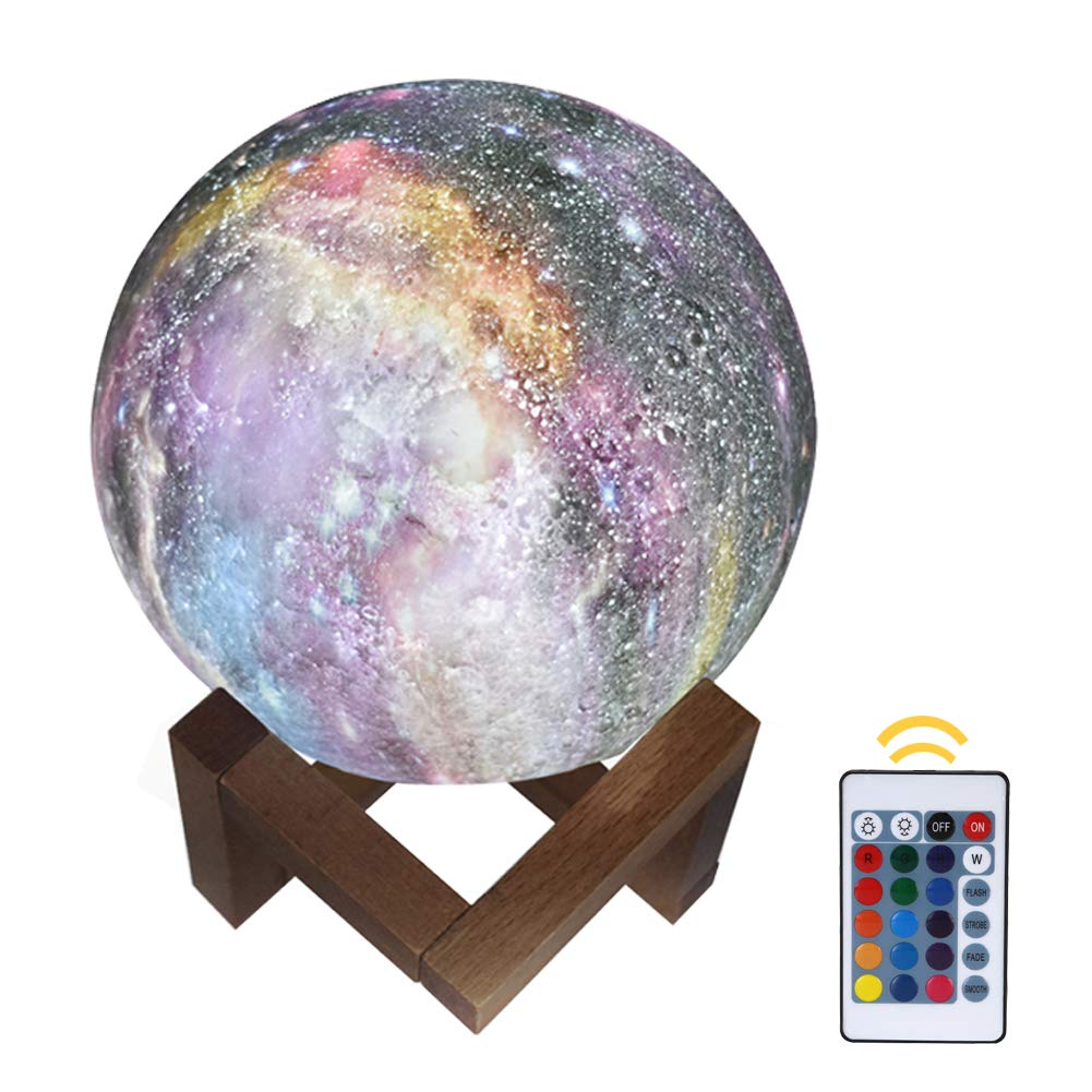 Alotm 3D Moon Lamp LED Night Light with 16 Colors, Dimmable, Remote & Touch Control, Rechargeable Lunar Night Light Full Set with Wooden Stand, Decorative Lamps - 15cm/5.9inch (16 Colors-5.9inch)