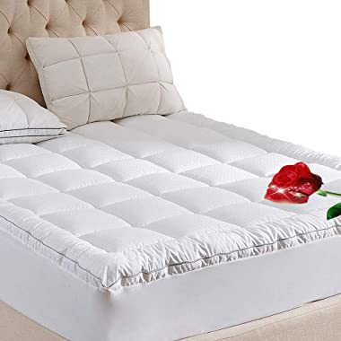 WhatsBedding King Size Mattress Topper King Size 400TC Cotton Top 3M Water Resistant Hypoallergenic-71oz Down Alternative Filling Pillowtop Mattress Topper Cover-Fitted Quilted 8-21 Inch Deep Pocket