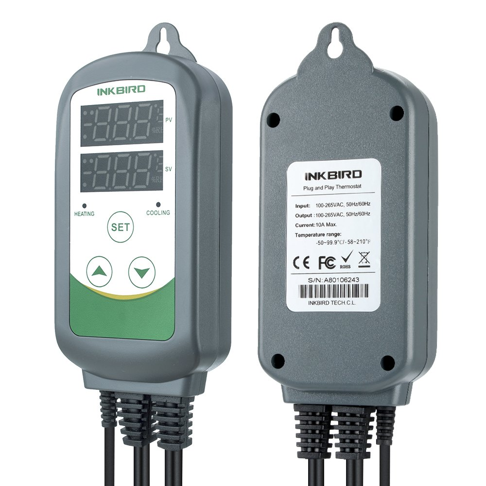 Inkbird ITC-308S Doble Rele 220v Controlador de Temperatura, 2 Enchufe Refrigeración Calefaccion Termostato Digital para Butano Calentador Acuario,Cerveza ...