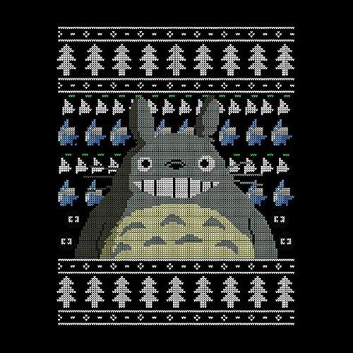 Jacket Christmas Varsity Men's white Studio Totoro Black Ghibli Knit YxWSYr1wq