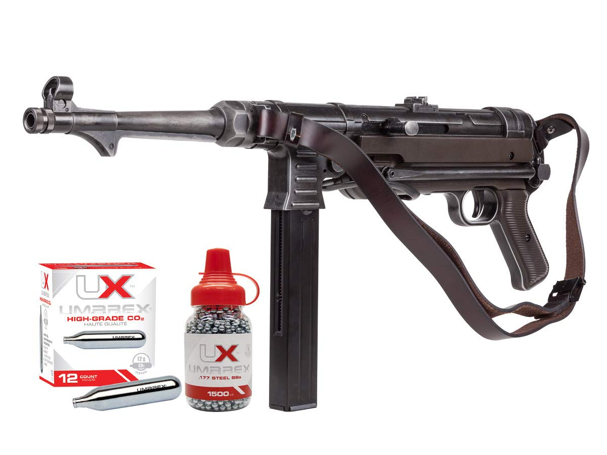 Umarex Weathered MP40 Full Auto CO2 Submachine BB Gun Bundle with 1500 BBS and 12 CO2 Cartridges