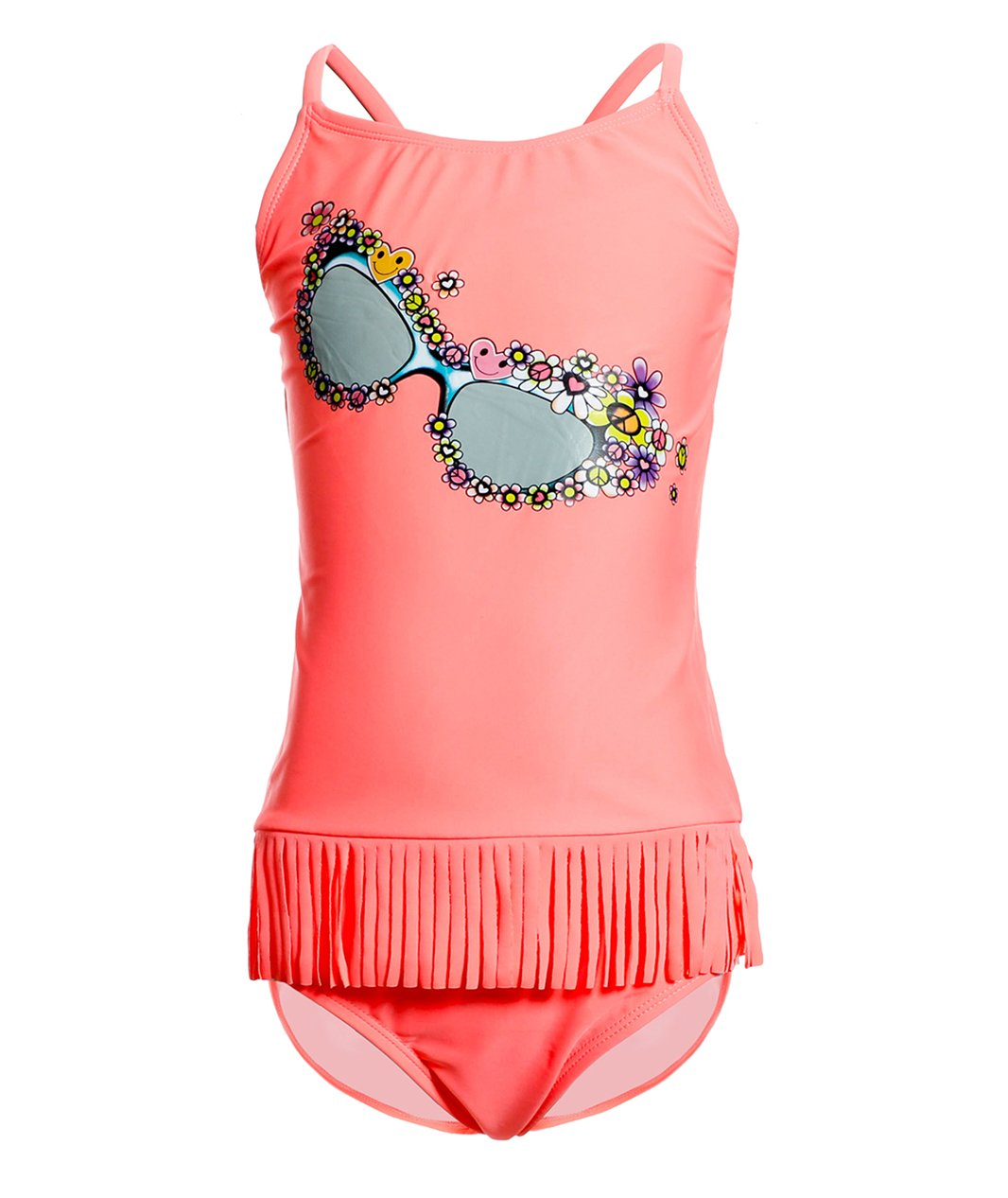 BELLOO Girls Tassel Thin Straps Tankini Sets Two Piece Bathing Suits, Glasses, 7-8