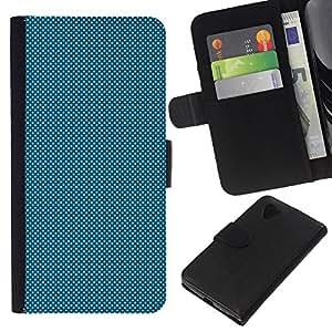 iBinBang / Flip Funda de Cuero Case Cover - LIGHT BLUE DOTS - LG Nexus 5 D820 D821