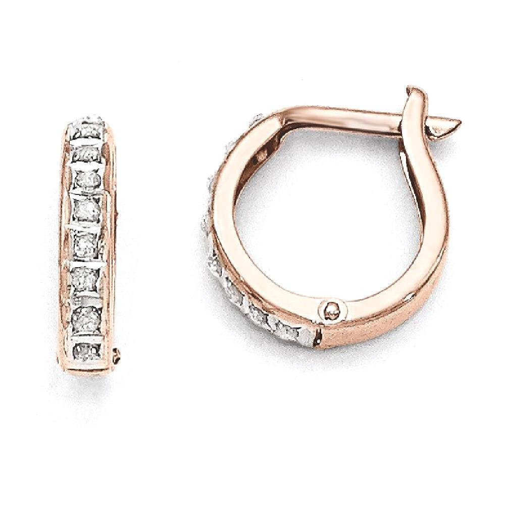 ICE CARATS 14k Rose Gold Diamond Fascination Round Hinged Hoop Earrings Ear Hoops Set Fine Jewelry Gift Set For Women Heart
