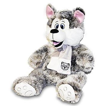 Peluche Husky Perro Peluche con bufanda 80 cm muy suave plástico Husky