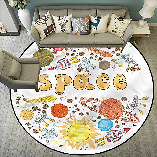 Area Round Rugs,Space,Hand Drawn Planets and Stars,Anti-Slip Doormat Footpad Machine Washable,3'3