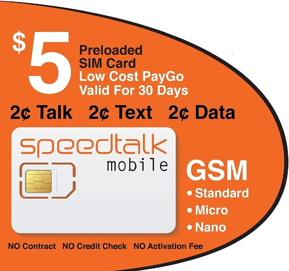 Amazon Com 5 Sim Card Preloaded With 1st Month Service No Contract