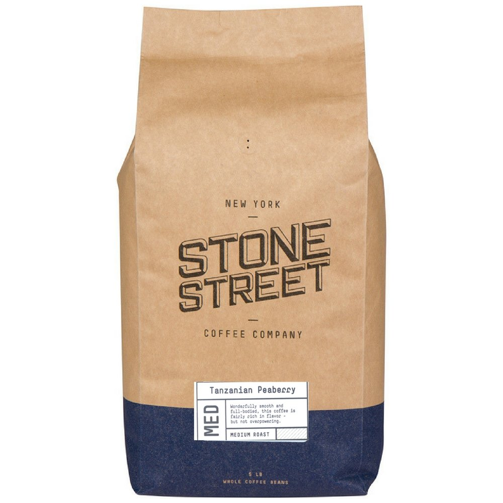 TANZANIA PEABERRY 'Mount Kilimanjaro' Whole Bean Coffee | Light Roast | 5 LB Large Bag | Single Origin | Smooth, Rich & Unique Flavor by Stone Street Coffee