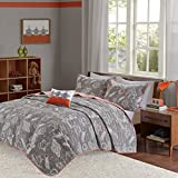 INK+IVY Kids Orbit Full/Queen Bedding Sets Boys Quilt Set - Grey, Rocket Planet – 4 Piece Kids Quilt For Boys – Cotton Quilt Sets Coverlet