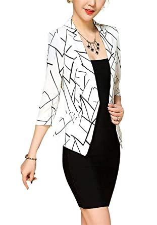 Mujer Outwear Mangas 3/4 Slim Fit De Solapa Chaqueta De Traje ...