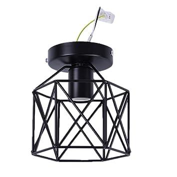 Zyurong Retro Soporte de Hierro Negro Jaula Cesta de Metal Soporte de Techo, lámpara Colgante – lámpara de Techo Industrial Vintage Colgante luz ...