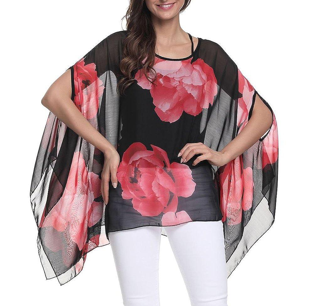 Myosotis510 Women's Floral Printed Chiffon Caftan Poncho Tunic Top CF029