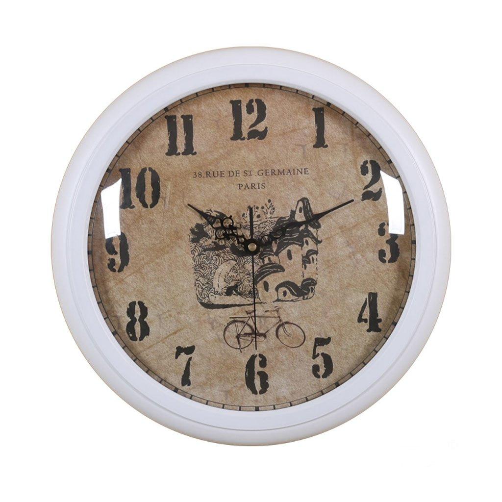 ヨーロッパの木製の片面円形リビングルームベッドルーム静かな壁時計 (色 : 白) B07DN5CD2B 白 白