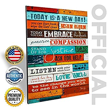 Inspirational Quotes Wall Art - Today Is A New Day 12 x 16 Inch Wood Wall Art Panel by Marla Rae