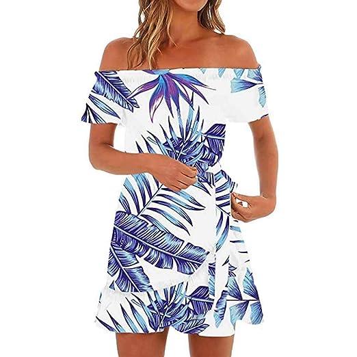 782f14e114 Botrong Off Shoulder Dresses for Women, Hawaiian Floral Short Sleeve Summer  Beach Dress Blue