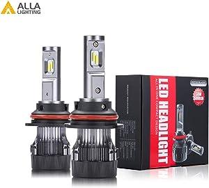 Alla Lighting S-HCR 9007 LED Headlight Bulbs Hi/Low Beam Conversion Kits Replacement 10000Lms Xtreme Super Bright DRL HB5, 3000K Amber Yellow
