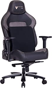 FANTASYLAB Big and Tall 440lb Metal Base Gaming Chair, Memory Foam Lumbar Seat Cushion, 4D Adjustable Arms Swivels & Reclines Ergonomic High-Back Racing Computer Desk Office Chair