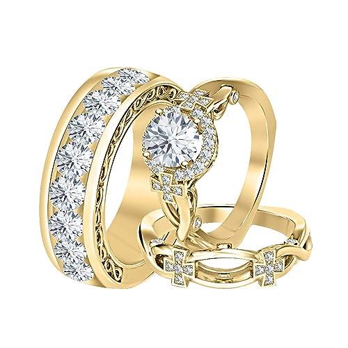 Amazon.com: Tusakha - Juego de anillos redondos de oro ...