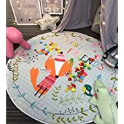 Round Rugs,Baby Play Mat Toys Storage Organizer,Nursery Rugs Large Cotton Anti-slip Cartoon Animal Baby Floor Mat Game Mat Area with Drawstring for Kids Room Living Room, 59x59 Inch (A Fox)
