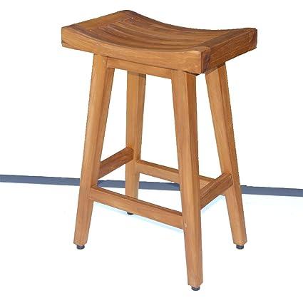 amazon com grace teak counter height bar stool bar chair for