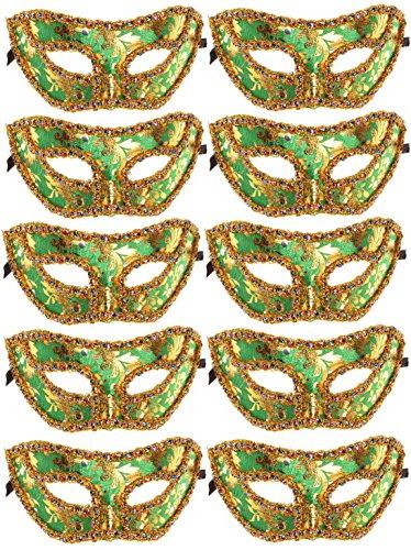 10pcs Set Mardi Gras Half Masquerades Venetian Masks Costumes Party Accessory (Green)