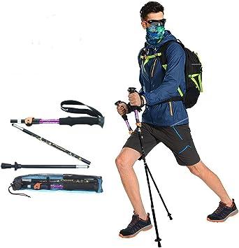 Bastón de travesía, plegable, ultraligero, para senderismo, escalada, caminata, ajustable, con mango de espuma de etilvinilacetato, color morado, 1 ...