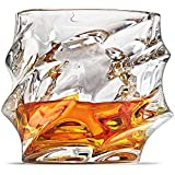 Ashcroft Everest Whiskey Glasses - Set of 2 - 10oz Unique Cool Crystal Rocks For Scotch, Bourbon, Vodka, Liquor