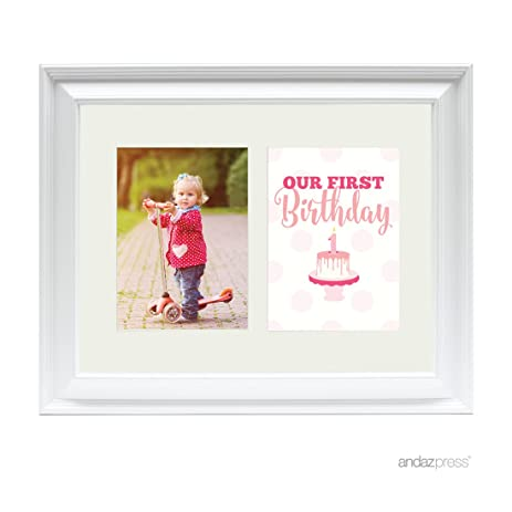 Amazon.com - Andaz Press Double White 5x7-inch Photo Frame, Our 1st ...