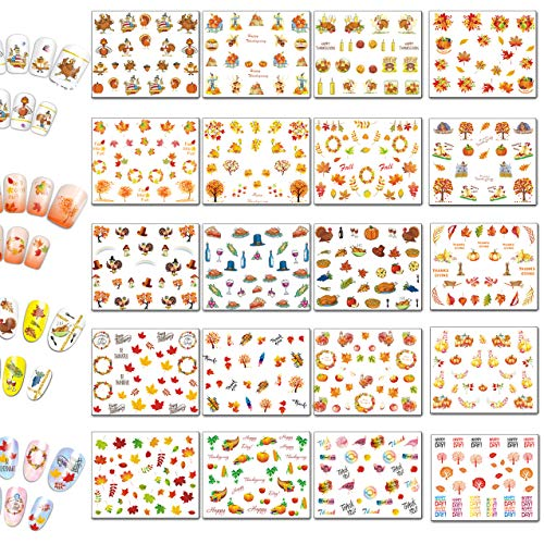 TailaiMei Thanksgiving Nail Decals Stickers 20 Sheets 600 Pcs Self-adhesive Tip and Water Transfer Set - DIY Nail Art Waterslide Include Turkey/Autumn/ Maple/Fall Leaves/Pumpkin