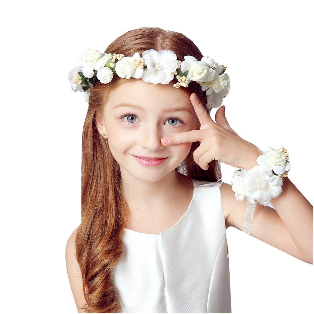 Amazon.com   2 PC Set Girl Flower Wreath Crown Floral Headband Garland  Wrist Band Set for Wedding Festivals (White)   Beauty f1daf25f0c6