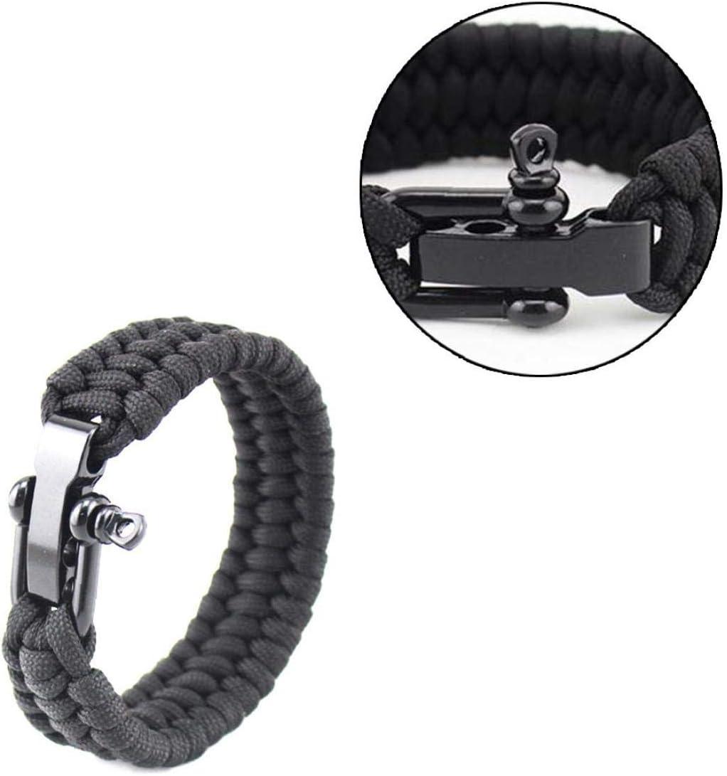 Überlebens-Armband Para Außen Cord schwarzes Seil Camping Stahlbügel Buckle