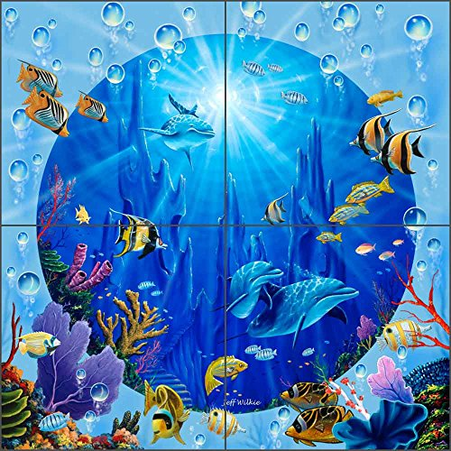 Undersea Art Tile Mural Backsplash Dolphin Castle II by Jeff Wilkie Ceramic Kitchen Shower Bathroom (12