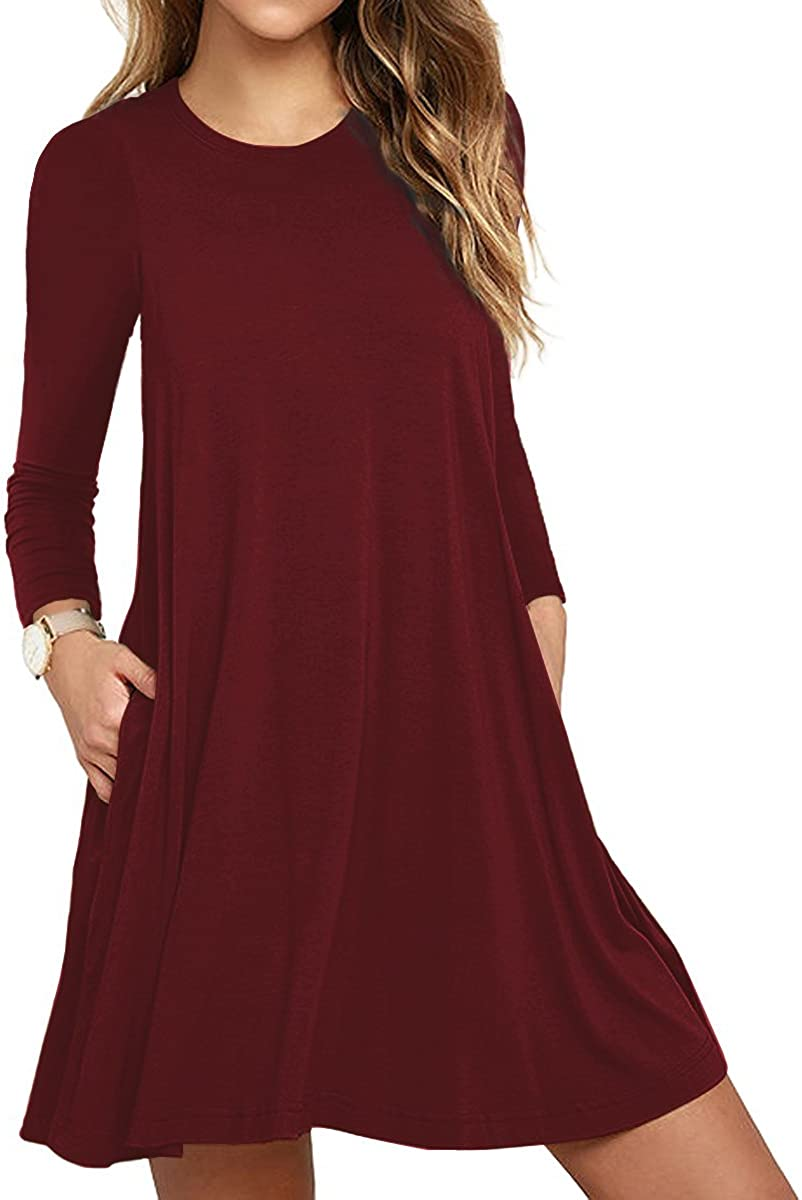 TOPONSKY Women's Tunic Pockets Casual Swing T-Shirt Plain Loose Dress