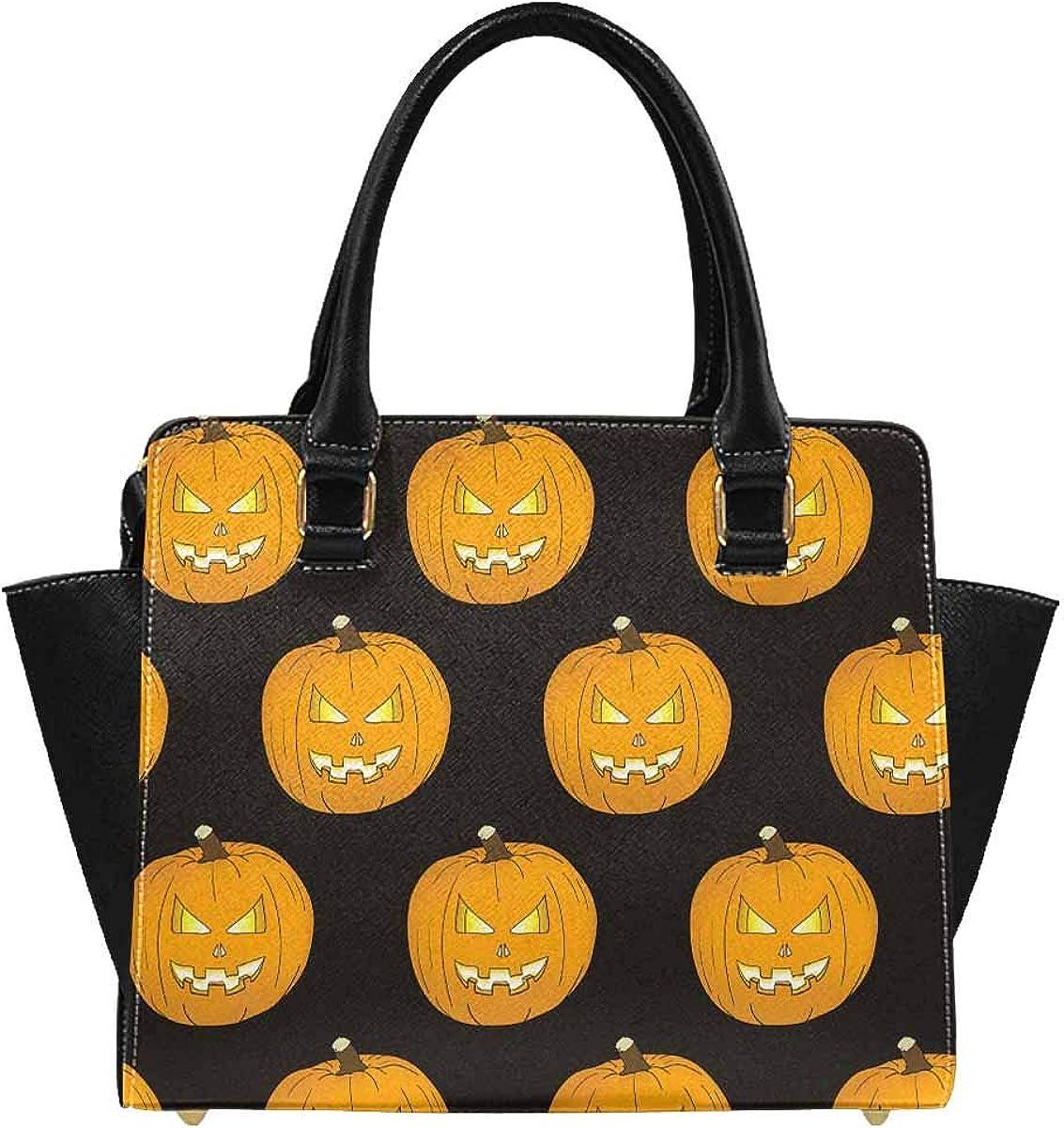 INTERESTPRINT Halloween Vintage with Pumpkin PU Leather Satchel Shoulder Tote Bags Top Handle Handbags